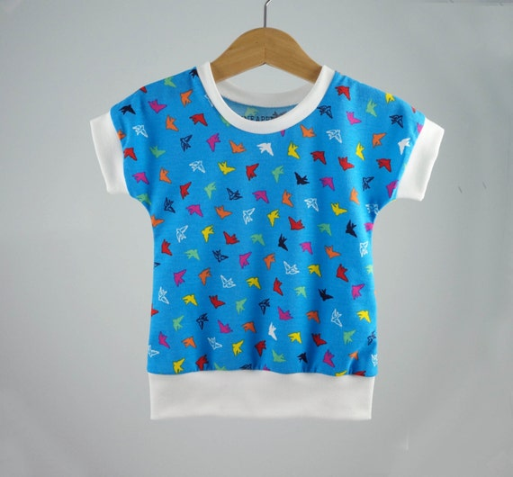 Girls toddler kids summer clothes, colorful birds on blue, modern girls shirt, girls clothes, sale, 12-18m, 2t 3t 4t 5t