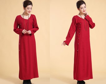 Easy to Wear!!/ Asian- style Linen Long Wrap Dress with Handmade Silver Buttons / Long Sleeves/ 37 Colors/ RAMIES
