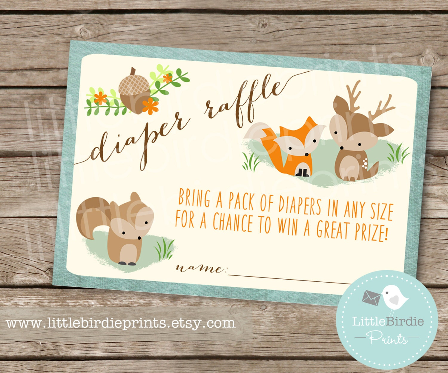 Woodland baby shower game diaper raffle fox by for Baby shower diaper decoration game