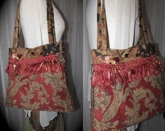 Brown Bohemian Bag, handmade earthy with thick upholstery chenille fabric bag, rich earth tones, carpet bag, boho shabby shoulder bag