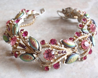 Florenza Whitewash Bracelet French White Finish Pink Peacock Iridized Marquise Stones Vintage 091114SB