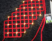 Leds lighting Red color criss cross cage crinoline belt grid with ribbon end for fantasy fancy party unique woman size