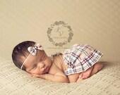 newborn girl plaid SKIRT set (Rachel) - photography prop - beige, tan, cream, navy, maroon, white
