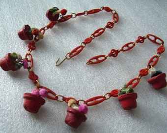 Vintage art deco early plastic celluloid clay flowerpots necklace - bakelite style