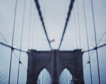Brooklyn Bridge at Twilight - 8x10 Fine Art Photograph, Blue, Gray, Soft, NYC, New York City,