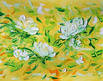 ORIGINAL Painting Oil Palette knife Spring Fling Colorful Flowers Abstract Home Decor Wall art White Green Modern Textured ART by Marchella