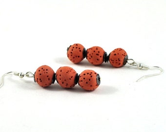 Terracotta Beaded Earrings Ceramic Jewelry Organic Orange Brown with Silver Accents Gift for Her