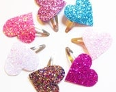 PICK TWO - Glitter Heart Clips - Sparkle Heart Clips - Sparkle Clips - Baby Hair Clip - Baby Shower Gift - Glitz Confetti Frozen Elsa Blue