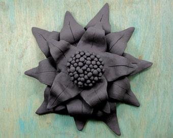 Sunflower Ceramic Black Clay Wall Hanging