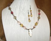 Golden Champagne and Pink Crystal Bead Jewelry - necklace and earrings