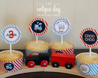 Printable Train Themed Birthday Party - Cupcake Toppers - Cupcake Wrappers - Party circles // TRA-02