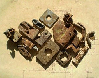 14 Rusty Metal Parts - Industrial Salvage - Found Objects for Assemblage, Sculpture or Altered Art - Salvaged Supplies - Old Hardware