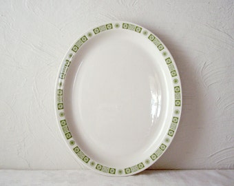 buffalo china platter - green atomic snowflake oval restaurant ware plate - cafe diner dish