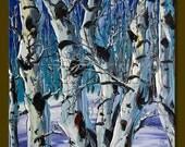 Modern Landscape Painting Birch Forest Oil on Canvas Textured Palette Knife Original Tree Art 16X16 by Willson Lau