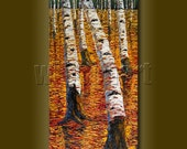 Birch Tree Forest Seasons Autumn Landscape Painting Oil on Canvas Textured Palette Knife Original Modern Art 18X36 by Willson Lau