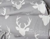 Buck Forest Mist print, Hellow Bear Collection, Cotton Fabric, Quilting Weight textile, Art Gallery Designer Cotton