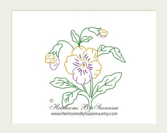 Machine Embroidery Design - Flower - Pansies - Redwork - Colorwork - Machine Quilt Embroidery - INSTANT Download - 3 Sizes - Flower No.7