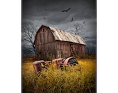 The Death of a Small Midwest Farm with abandoned Barn and Tractor below Circling Vultures No.1213 - A Fine Art Agricultural Photograph