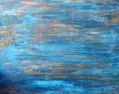 Art Sale Original Abstract Art Blue and Gold Painting