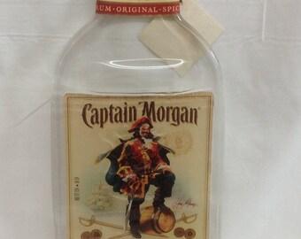 Fused flat Captain Morgan liquor bottle