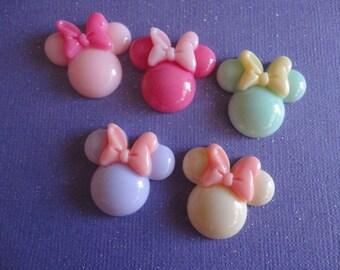 Kawaii girly mouse with bow cabochon decoden deco diy charm  5 pcs---USA seller