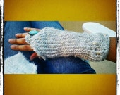 Alpaca Wool Fingerless Gloves  Pairs Perfectly with Jeans RESERVED FOR JADEENAH Gray Wool, No Sequins