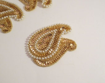 Gold and Pearl Beaded Paisley Duo Applique--One Piece