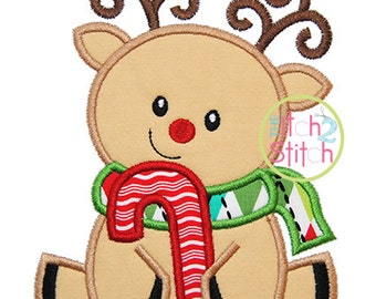 """Sitting Reindeer Candy Cane Applique,  Sizes 4x4, 5x7, & 6x10, shown with our """"Hambone"""" Font NOT Included, INSTANT DOWNLOAD available"""
