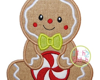 "Sitting Gingerbread Boy Applique,  Sizes 4x4, 5x7, & 6x10, shown with our ""Grandma's Garden"" Font NOT Included, INSTANT DOWNLOAD available"