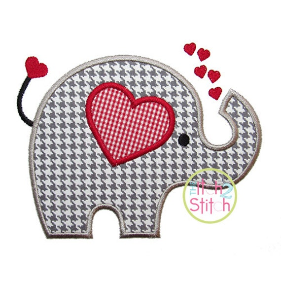 "Valentine Elephant Applique Design For Machine Embroidery (""Pigtails"" Font is NOT included) INSTANT DOWNLOAD now available"
