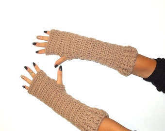 Crochet Fingerless Gloves, Taupe, Mittens, Long Fingerless Gloves