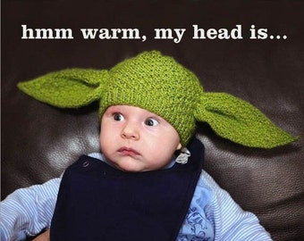 Baby yoda beanie, newborn -3 months size, ready for shipping.