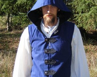 Vest, Renaissance Hooded Vest or Doublet, Made to Order
