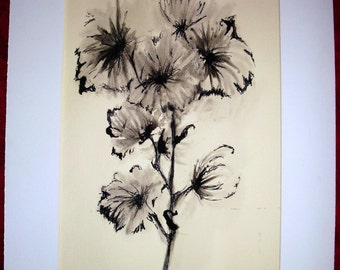 Inkwash & Pen Mixed Media - Gerber Daisies