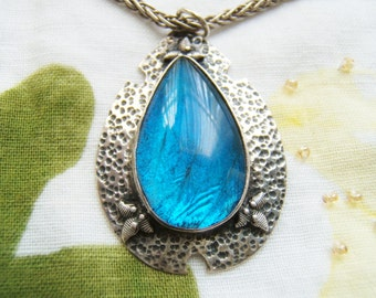 Rare Arts and Crafts era butterfly cobalt blue morpho wing silver necklace and  teardrop pendant