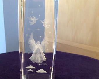 Crystal 3-D Angel Paperweight