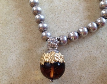 Sterling Bead Necklace with Amber by Folli Follie
