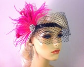 Gatsby Wedding, Bridal Feather Headband, Hot Pink and White, Wedding Veil, Downton Abby, Feather Fascinator
