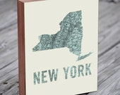 New York - New York Art - New York Print - New York Map - NYC Map Art- Wood Block Wall Art Print