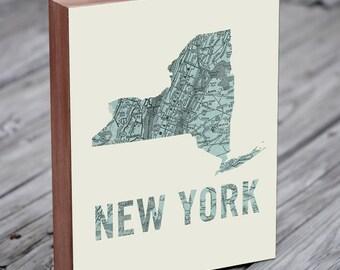 New York - New York Art - New York Print - New York Map - NYC Map Art- Wood Block Wall Art Print
