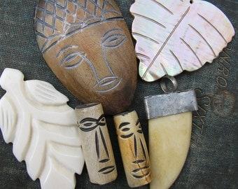 Tribal Bead Destash, Wood, Bone, Shell and Metal Primitive Beads, Bead and Pendant Collection