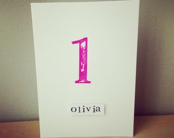 1st Birthday Card hand stamped with retro style numbers x  personalised birthday card - twins birthday card - name birthday card