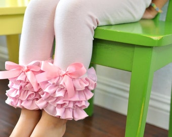 Light Pink Leggings with Full Ruffles / Girls Leggings