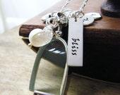 sterling glass locket wedding locket, anniversary locket, marriage locket, glass photo locket, personalized wedding locket