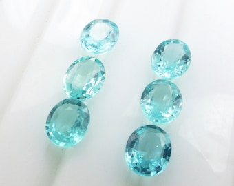 APATITE. Natural. LuSCiOuS ViViD Blue. Native Cut. Oval. 6 pc. 3.51 cts. 5x6x2.5 mm (Ap408)