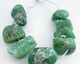 VERDITE / Fuchsite FOCaL BEaD. Natural. Xxl GiGantic. Deep Green. Nugget Beads. 8 pc. 300 cts. 15x21 to 25x16 mm (Ver110)