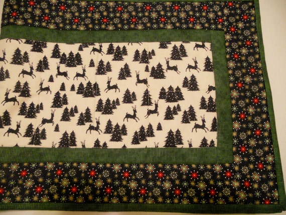 Runner, runner Topper, Winter Trees   Table christmas Quilted Table woodland table  Woodland Christmas