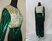 Elegant Brocade & Green Velvet Vintage 1940's WWII Womens Cocktail Dress XXS XS