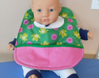 Frogs and Flowers Baby Bib