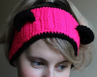 Cute Crochet Pink Panda Bear Ear warmer headband headwrap - Adult size - Black and Pink